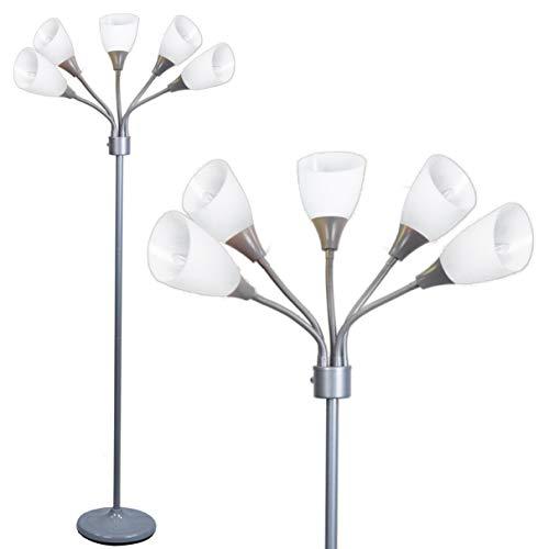Đèn sàn hiện đại Đèn chiếu sáng bằng đèn chiếu sáng - Đèn chiếu sáng phòng ngủ nhiều đầu Medusa với 5 đèn định vị acrylic màu trắng có thể định vị (Đèn màu xám)