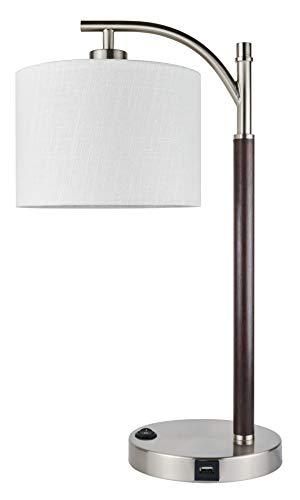 """Kira Home York 18 """"Đèn bàn LED tối giản + Bóng đèn 7W (Tiết kiệm năng lượng / Thân thiện với môi trường) + Bóng trống trắng - Đèn hồ quang đứng hiện đại với bóng đèn treo, Kết thúc bằng Niken + Thân gỗ"""