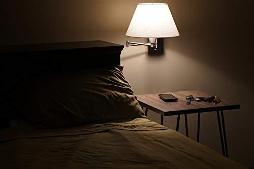 """Kira Home Cambridge 13 """"Đèn treo tường xoay - Cắm / Gắn tường + Bóng vải trắng, 150W 3 chiều + Vỏ dây, Hoàn thiện Satin niken, 2-Pack"""
