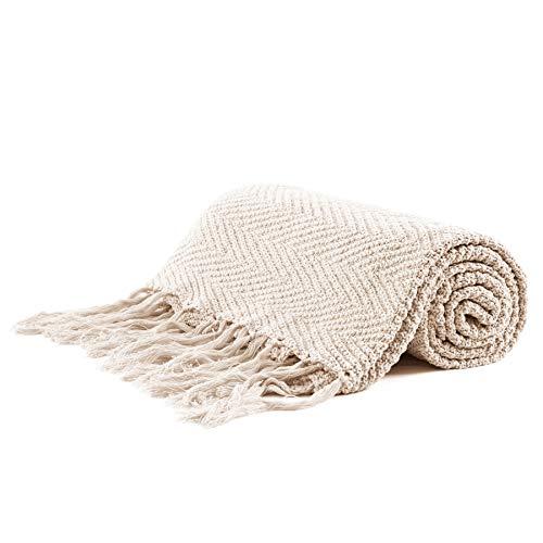 Bộ đồ giường dài bằng vải bông đan Fringe, chăn dệt kim trang trí 60 x 80 inch với tua 6 inch, túi giặt thưởng - Trọng lượng 4,8lb, chăn mền, kem