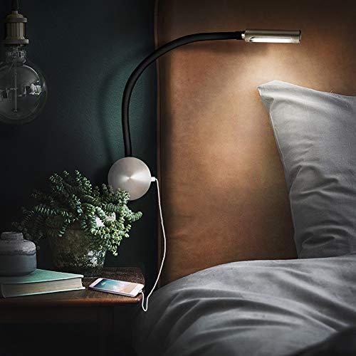 acegoo Đèn đọc sách bên giường, Đèn LED tối giản với Bộ sạc USB cho Studio gia đình, Đèn làm việc theo sở thích thủ công, Công tắc đèn cảm ứng đầu đèn, Gắn trên bề mặt