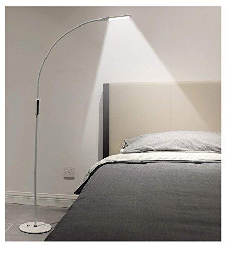 IMIGY Đèn sàn 9W có thể điều chỉnh độ sáng, Văn phòng / Công việc / Phòng khách Đọc ánh sáng cổ ngỗng linh hoạt với điều khiển cảm ứng và điều khiển từ xa, Độ sáng 5 cấp và Nhiệt độ màu Công nghệ chăm sóc mắt điều chỉnh độ sáng, Trắng