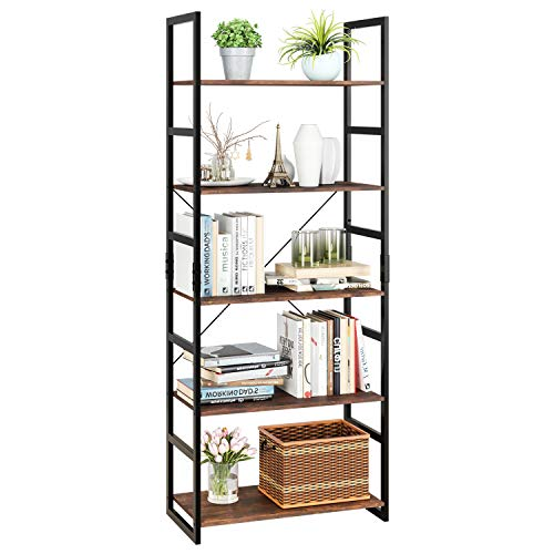 Tủ sách Homfa Giá 5 tầng Tủ sách cổ điển Kệ lưu trữ Tổ chức Gỗ hiện đại Nhìn Accent Khung kim loại Nội thất văn phòng