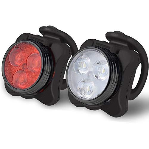 Bộ đèn xe đạp sạc Akale, đèn LED xe đạp siêu sáng phía trước và phía sau, 4 tùy chọn chế độ ánh sáng, pin lithium 650mah, đèn pha xe đạp, chống nước IPX4, 2 cáp USB 3 dây đeo