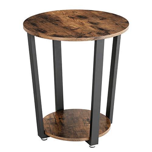 Bàn cuối công nghiệp VASAGLE, Bàn bên kim loại, Bàn sofa tròn có giá lưu trữ, Xây dựng ổn định và chắc chắn, Lắp ráp dễ dàng, Nội thất bằng gỗ có khung bằng kim loại ULET57X