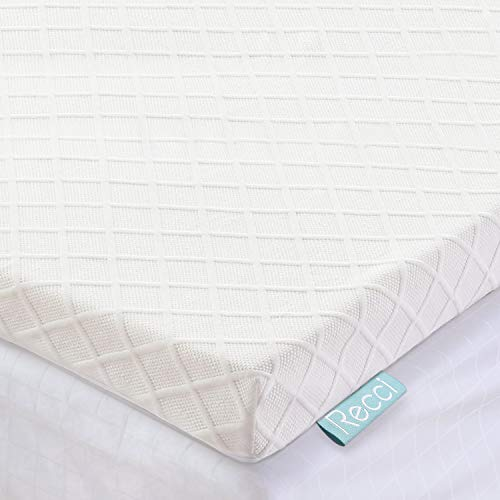 RECCI 3-inch Bộ nhớ bọt nệm Topper Queen, Topper giường giảm áp, Tấm đệm nệm bộ nhớ với vỏ Viscose tre - Có thể tháo rời & giặt được, CertiPUR-US (Kích thước nữ hoàng)