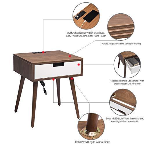 Bàn đầu giường có ngăn kéo lưu trữ, bàn cạnh giường ngủ Frylr mới nhất với 2 ổ cắm điện và thiết kế cổng sạc USB 2.1A cho ghế sofa phòng khách, gỗ óc chó nhẹ và trắng