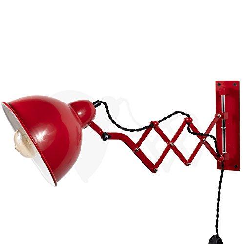 Rustic State Vintage Design Wall Reading Scissor Mở rộng Đèn Accordion với Công tắc bật tắt điều chỉnh độ sáng và Bóng đèn LED Edison 4 bóng (Đỏ)
