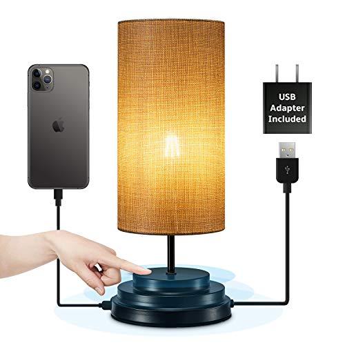 Đèn đầu giường Keymit Touch - Đèn có thể điều chỉnh độ sáng hoàn toàn - Đèn bàn di động cho điện áp thấp (DC 5V) cho phòng ngủ - Đèn đầu giường tối giản Đen 5,5D 15H - 1 cổng sạc USB cho phòng khách
