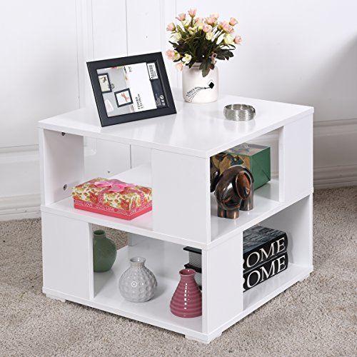 Bàn cuối giường Giantex Bàn gỗ vuông hiện đại với kệ lưu trữ Cube cho phòng ngủ Phòng khách cạnh bàn cà phê