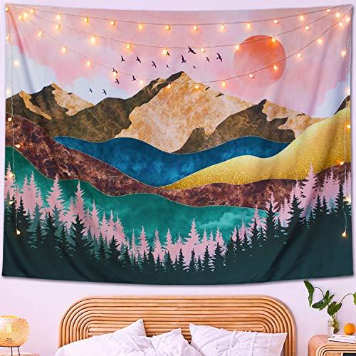 Neasow Núi Hoàng hôn Tấm thảm treo tường boho, Rừng cây Thiên nhiên Phong cảnh Nghệ thuật Tấm thảm trang trí nội thất boho Chăn cho phòng, màu đỏ chủ nhật, 50 × 60 inch