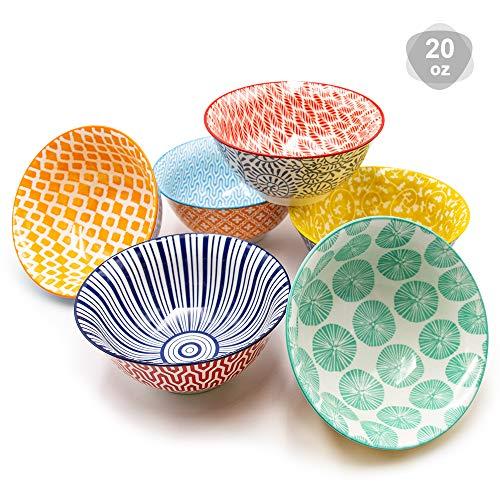Bộ bát sứ KitchenTour - Ngũ cốc, súp, salad, mì ống, gạo, bát sứ tráng miệng - Bộ thiết kế đầy màu sắc gồm 6 loại