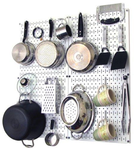 Bộ điều khiển treo tường nhà bếp Bộ dụng cụ tổ chức chậu và chảo Bộ dụng cụ lưu trữ và tổ chức gói với bảng màu trắng và phụ kiện màu trắng