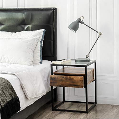 Bàn phụ công nghiệp VASAGLE, đầu giường, bàn cuối bằng kính cường lực, có ngăn kéo và kệ mộc mạc, trang trí trong phòng khách, phòng khách, khung sắt ổn định ULET04BX