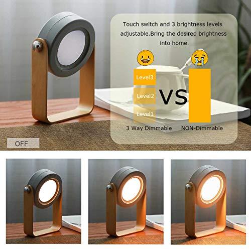 Đèn đọc sách hoạt động bằng pin, đèn lồng không dây, đèn bàn di động cho phòng ngủ, đèn bàn Led, đèn ngủ có thể điều chỉnh độ sáng bằng cảm ứng (màu xám)