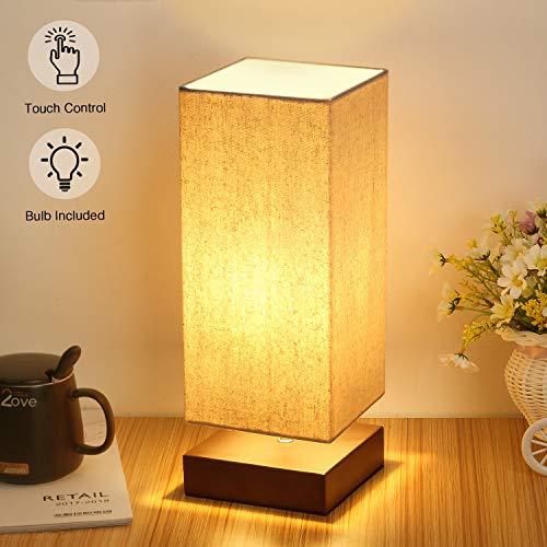 Đèn bàn điều khiển cảm ứng Đầu giường 3 chiều có thể điều chỉnh độ sáng Đèn bàn cảm ứng hiện đại với đèn vải vuông Bóng râm Đèn ngủ đơn giản cho phòng ngủ Phòng khách văn phòng, bao gồm bóng đèn Led