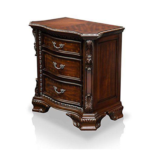 HOMES: Inside + Out ioHOMES Claudio Baroque Phong cách đầu giường 3 ngăn kéo, Walnut