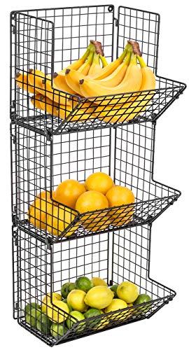 Tủ đựng trái cây và tủ treo tường 3 tầng Sorbus Bộ lưu trữ nhà bếp có thể gập lại đa năng, tuyệt vời cho nhà bếp, phòng tắm, tổ chức giặt ủi (Đen)