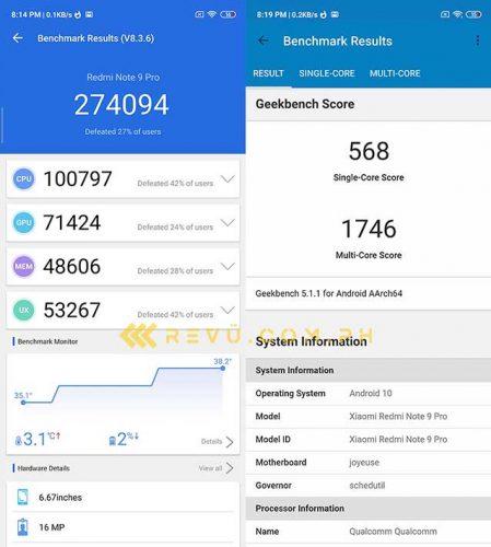 Điểm chuẩn Xiaomi Redmi Note 9 Pro Antutu và Geekbench của Revu Philippines