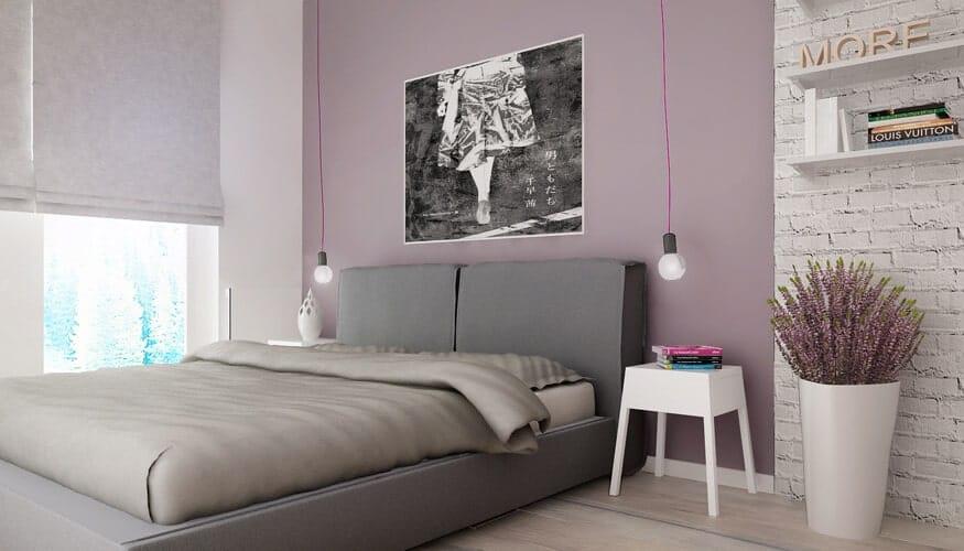 Phòng ngủ chính quyến rũ này có sự hiện thực hóa lớn nhất của màu sắc đối diện màu hồng với toàn bộ bức tường thiết lập màu sắc ở giữa những dải màu trắng.