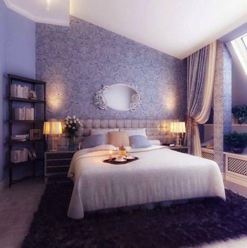 Một phòng ngủ chính Eclectic màu tím tự hào với một bức tường và sàn được thiết kế trang nhã đứng đầu bởi một tấm thảm khu vực tuyệt đẹp nơi đặt chiếc giường đẹp.