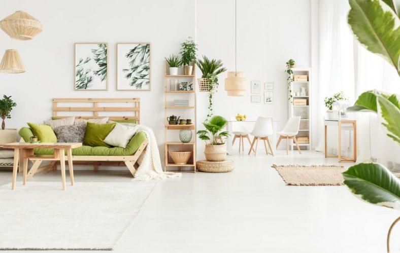 Một phòng khách sáng và trắng được bổ sung bởi các chậu cây và tác phẩm nghệ thuật khác nhau của cây.