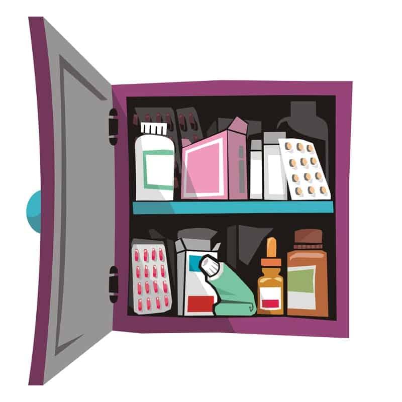 Một minh họa đầy màu sắc của một tủ thuốc.