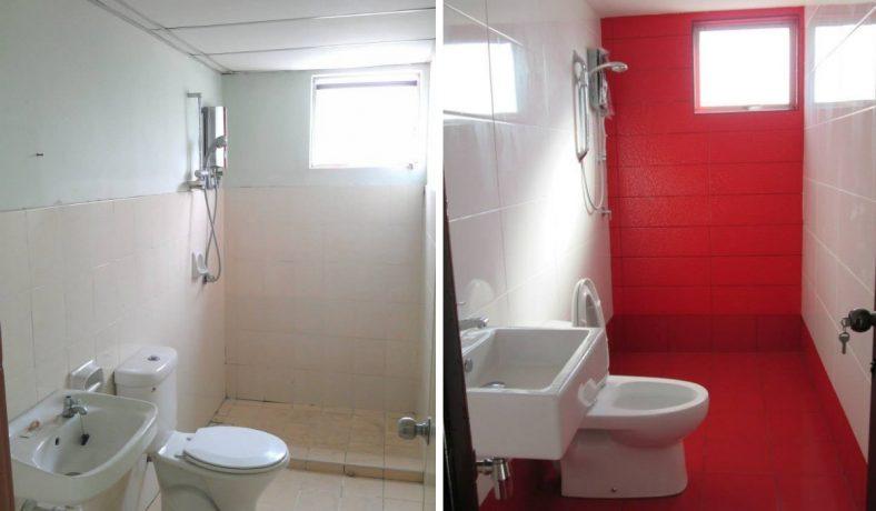 Phòng tắm màu đỏ đậm ở Bayu Puteri Petaling Jaya