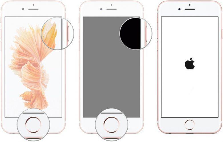 Khởi động lại iPhone hiển thị các bước để khởi động lại iPhone 6 bằng cách nhấn nút Trang chủ và nút Bật / Tắt cho đến khi logo Apple hiển thị