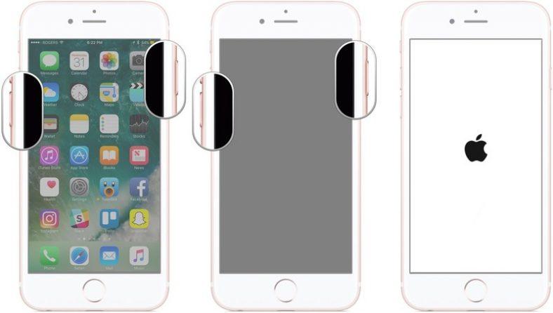 Khởi động lại iPhone hiển thị các bước để khởi động lại iPhone 7 bằng cách nhấn và giữ nút giảm và bật âm lượng cho đến khi logo Apple xuất hiện