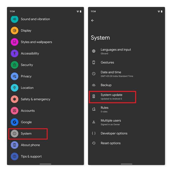 kiểm tra các bản cập nhật Android